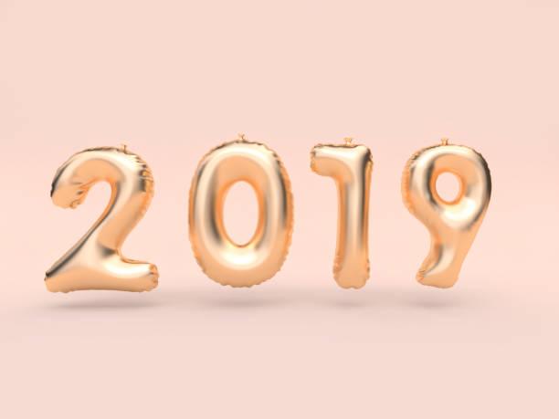 2019 ballon textnummer/gold 3d rendering rosa hintergrund schweben - 3d typografie stock-fotos und bilder