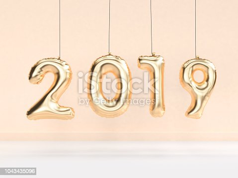 1043435102 istock photo 2019 balloon text/number gold hanging 3d rendering 1043435096