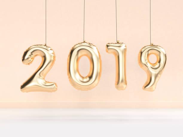 2019 ballon textnummer/gold hängen 3d-rendering - 3d typografie stock-fotos und bilder