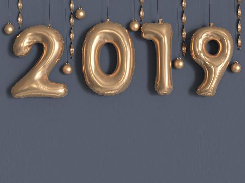 1043423158 istock photo 2019 balloon text/number gold metallic grey wall 3d rendering 1043435298