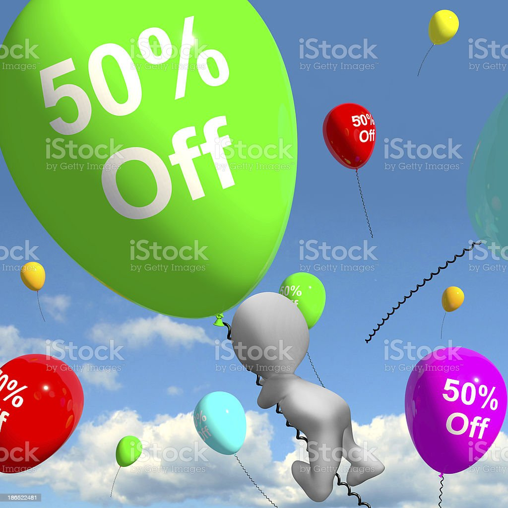 Balloon With 50% Off Showing Discount Of Fifty Percent royalty-free stock photo