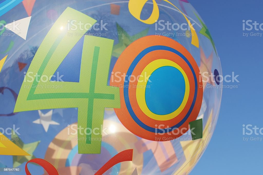 Balloon with number 40 on it. Macro. stock photo