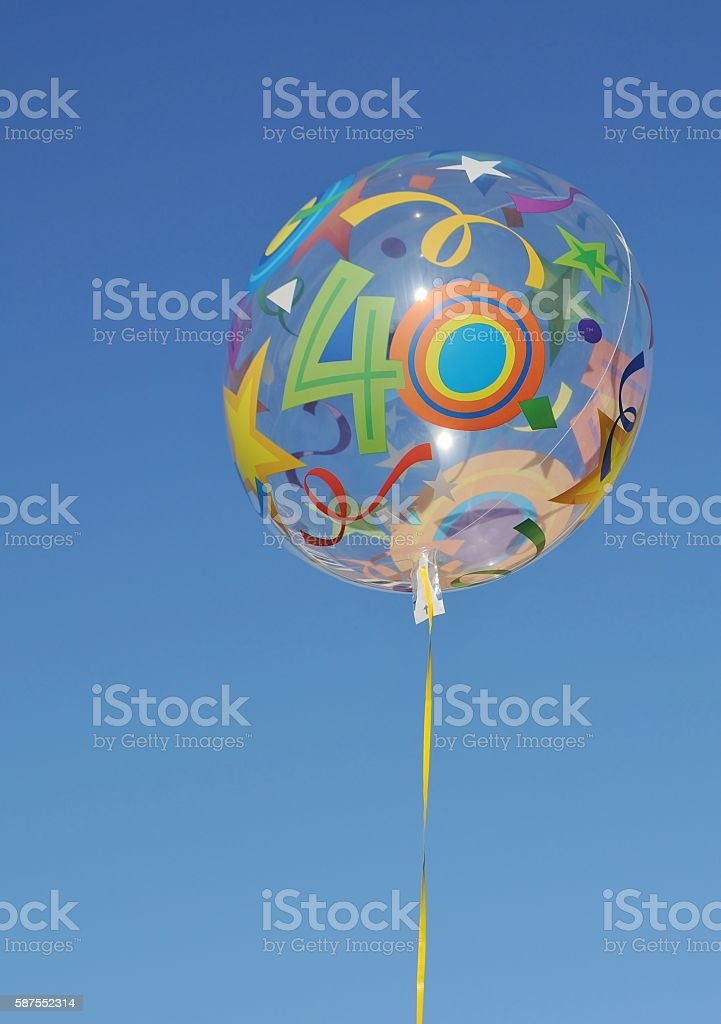 Balloon with number forty on it. stock photo