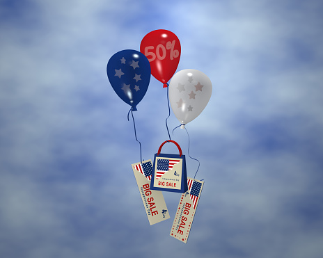 Balloon with stars, sale 50%, paper bag and advertising banner with cloud sky for the 4th of July.
