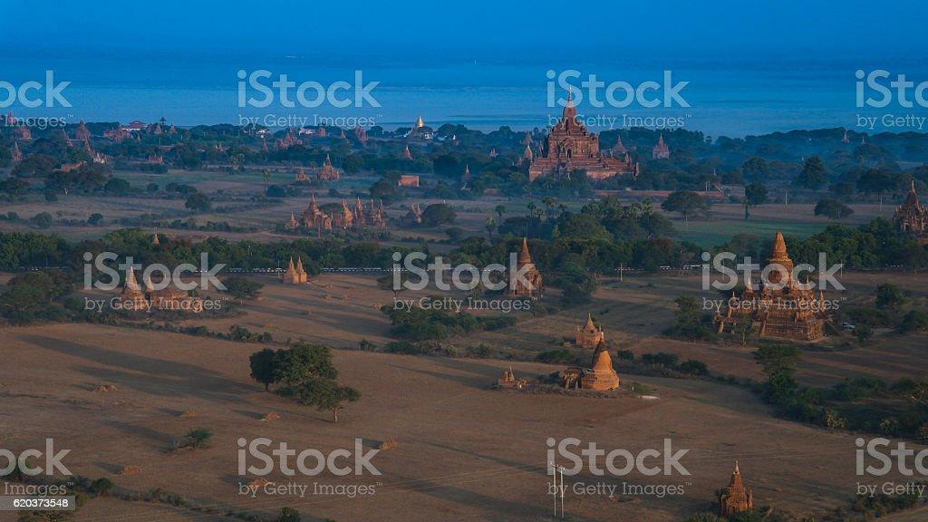 Ballooning in the dawn over Bagan, a thousands of stupas zbiór zdjęć royalty-free