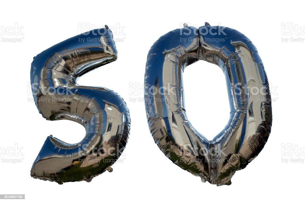 balloons against white for a 50th stock photo
