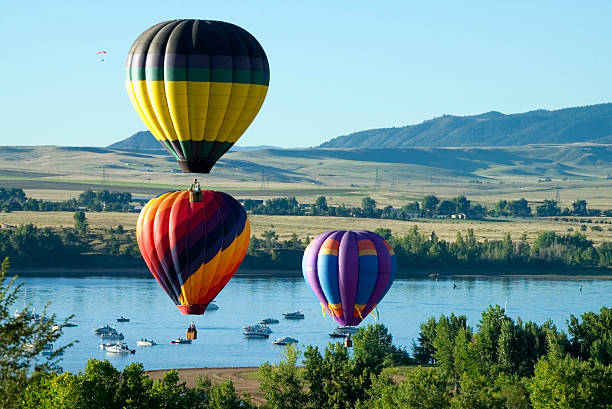 Balloons and Boats Chatfield Reservoir stock photo