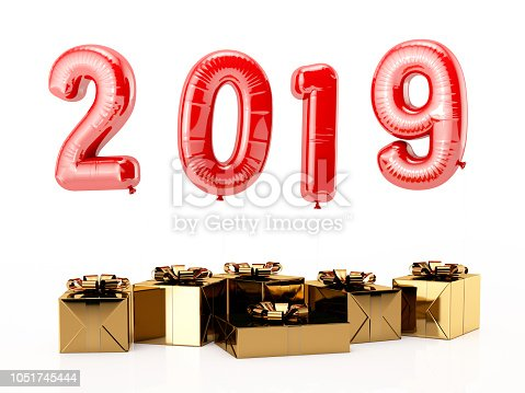 istock 2019 Balloons and Christmas Gifts on White. New Year Concept 1051745444