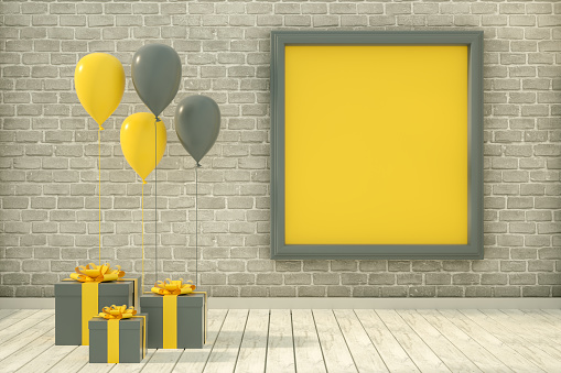3D Rendering of Shiny balloons, gift boxes, empty frame and brick wall. Christmas, greeting card, valentine's day, party, birthday concept.