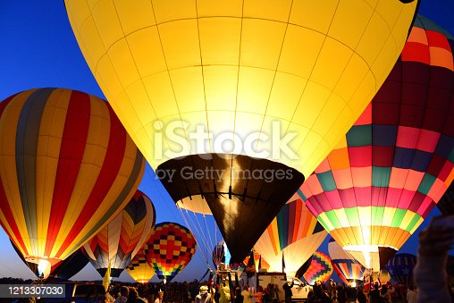 Hot air Balloons at Night Glow in Albuquerque, New Mexico
