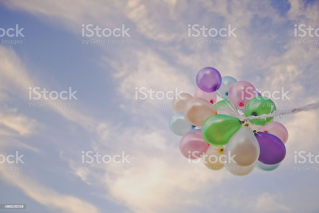 Balloons at sunset royalty-free stock photo