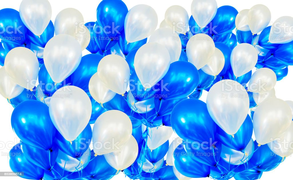 Balloons background on white, blue and white helium balloons stock photo