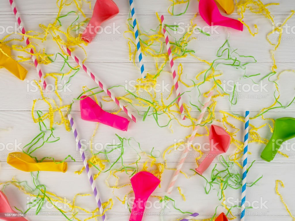 balloons, colored ribbons and tubules for a cocktail, background, holiday, bright stock photo