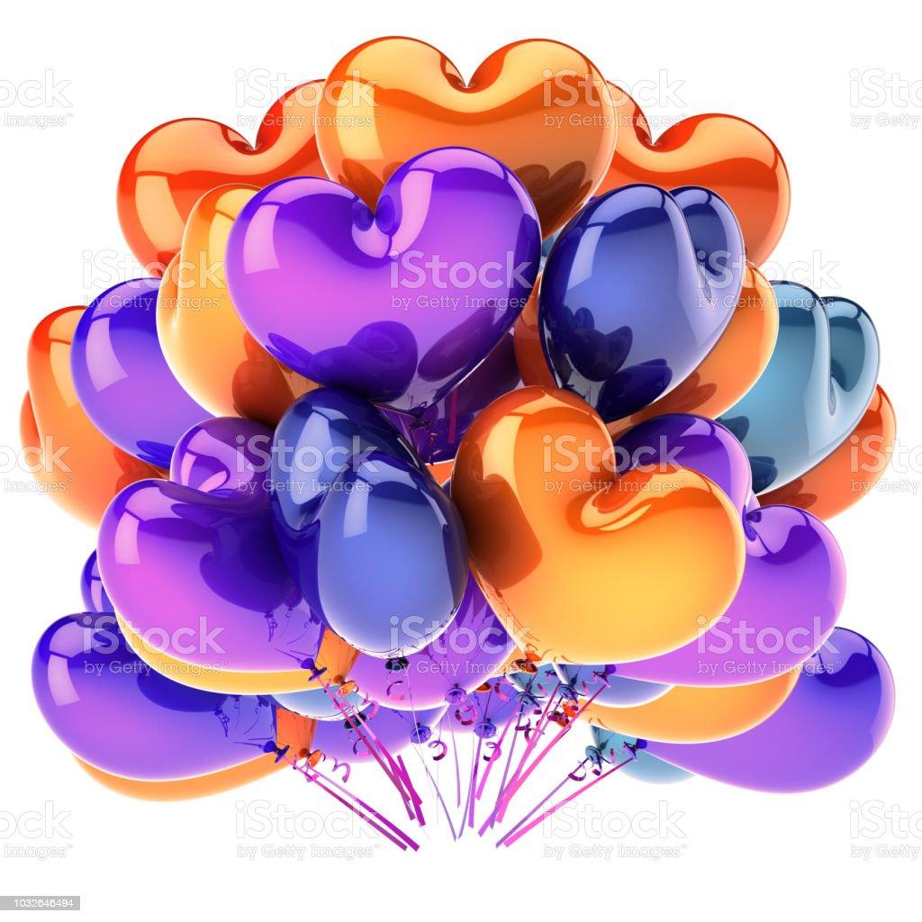 coração colorido de balões em forma de decoração de festa de bando multicolorido - Foto de stock de Amor royalty-free