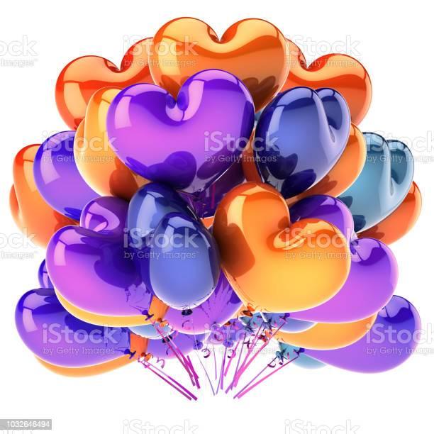 Foto de Coração Colorido De Balões Em Forma De Decoração De Festa De Bando Multicolorido e mais fotos de stock de Amor