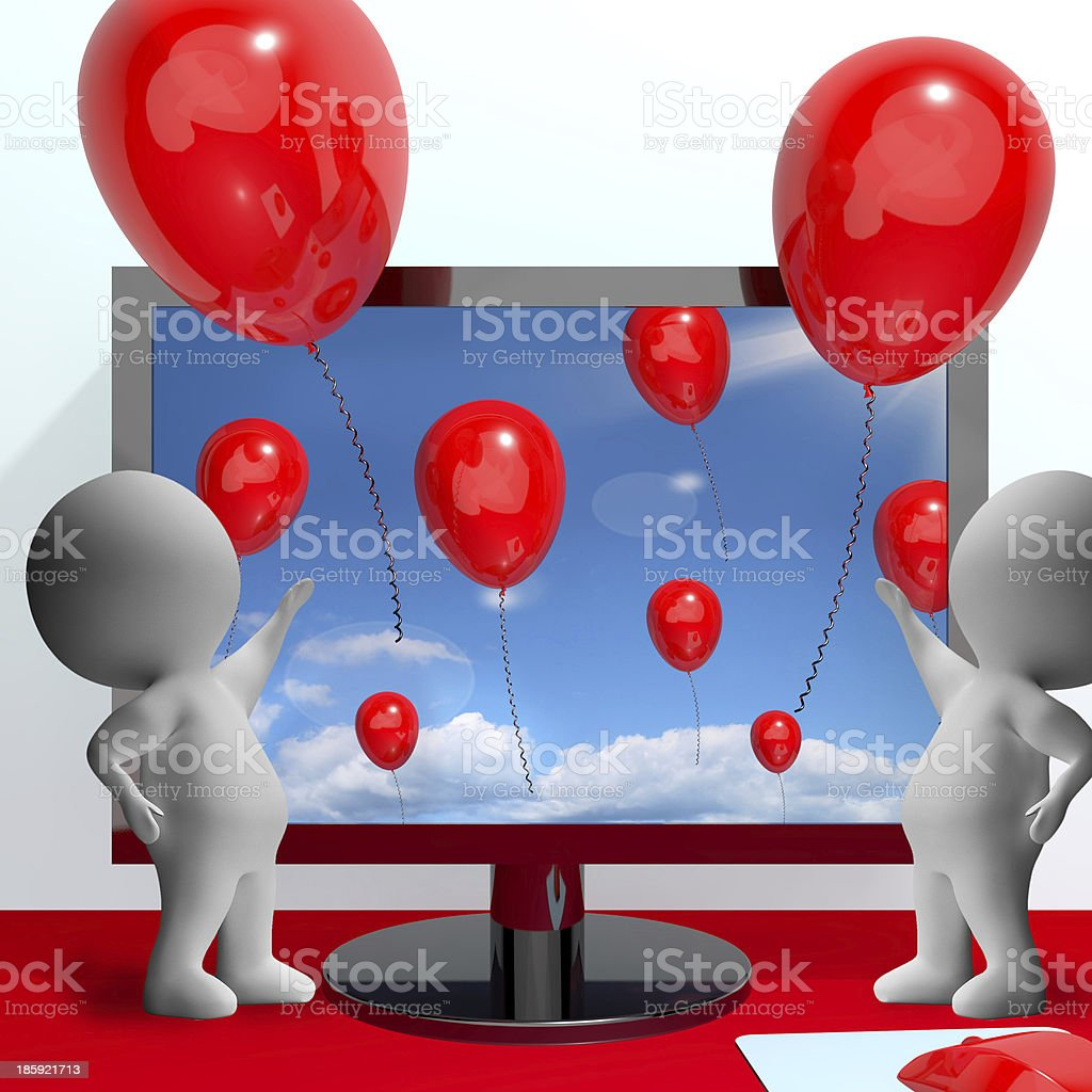 Balloons Coming Out Of Screen For Online Greeting royalty-free stock photo
