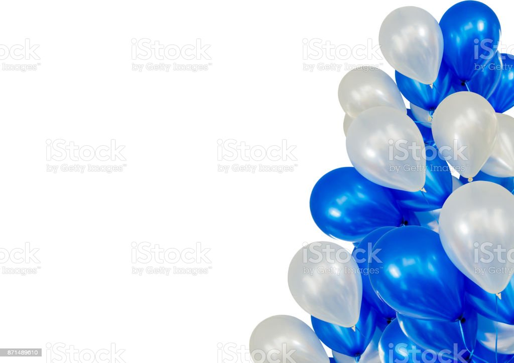 Balloons floating from the right on white background stock photo
