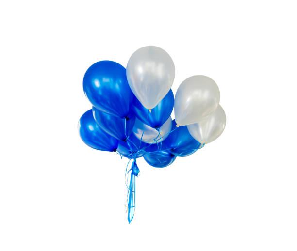 Balloons floating isolated on white background stock photo