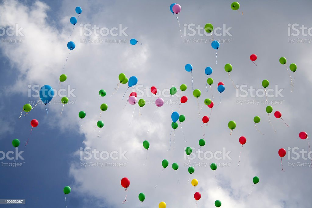 Balloons flying in the sky royalty-free stock photo