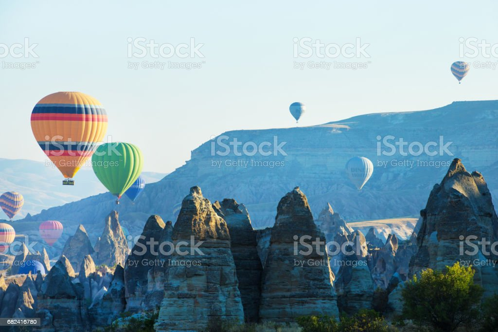 balloons flying over the cappadocia royalty-free stock photo