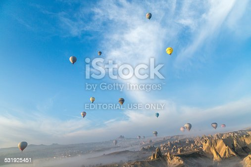 istock balloons formating in a cloudy shape skattered over the sky 531925451
