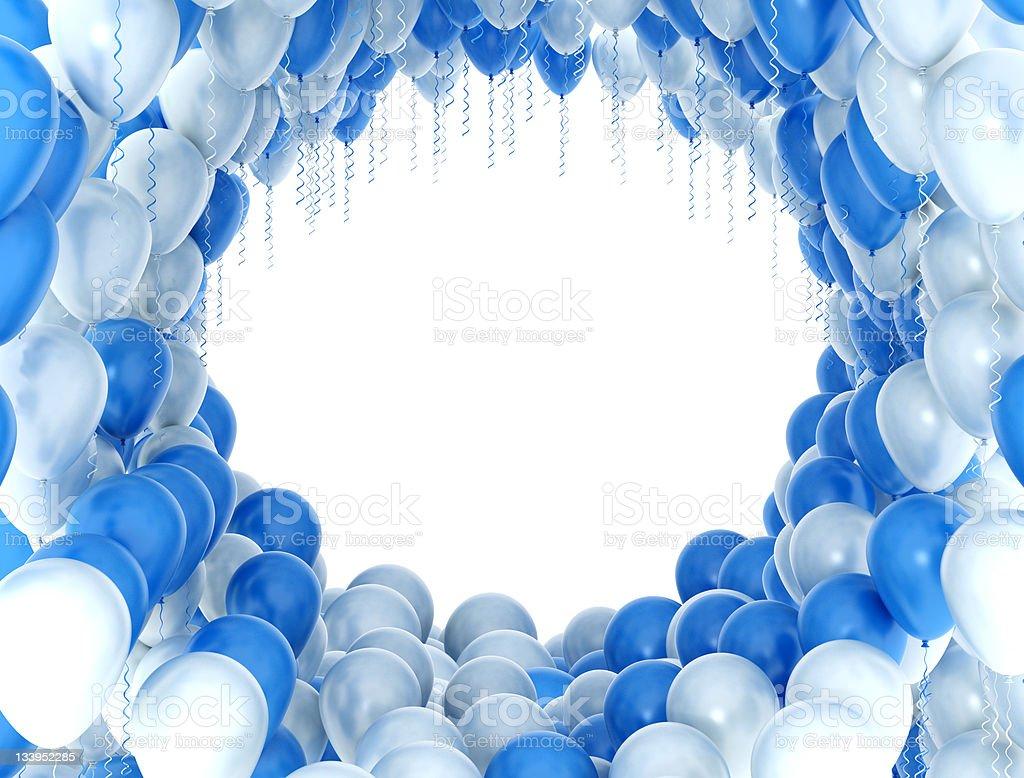 Balloons Rahmen Blau Und Weiß Stock-Fotografie und mehr Bilder von ...