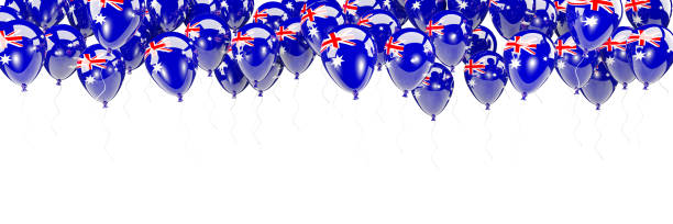 Balloons frame with flag of australia stock photo