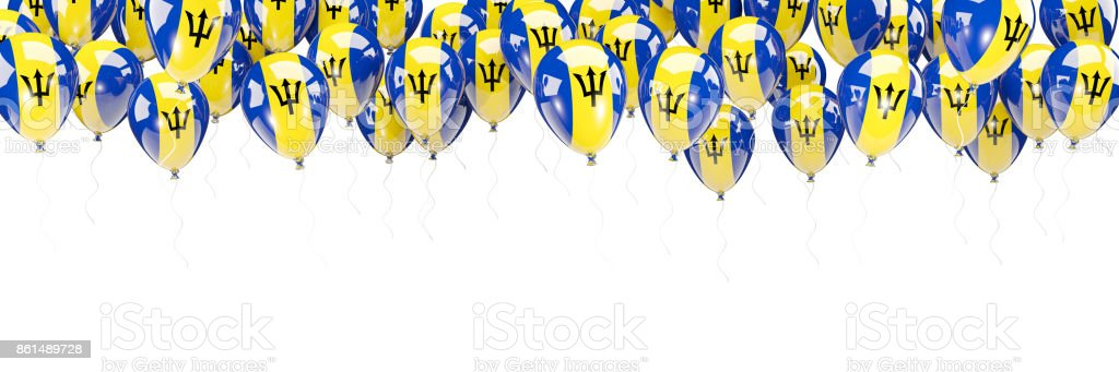 Balloons frame with flag of barbados stock photo