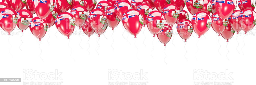 Balloons frame with flag of bermuda stock photo