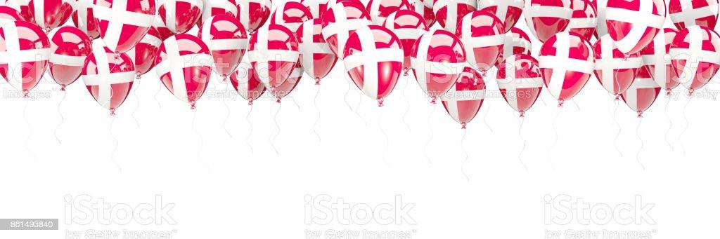 Marco de globos con la bandera de Dinamarca - foto de stock