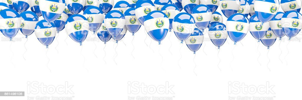 Marco de globos con la bandera de el salvador - foto de stock