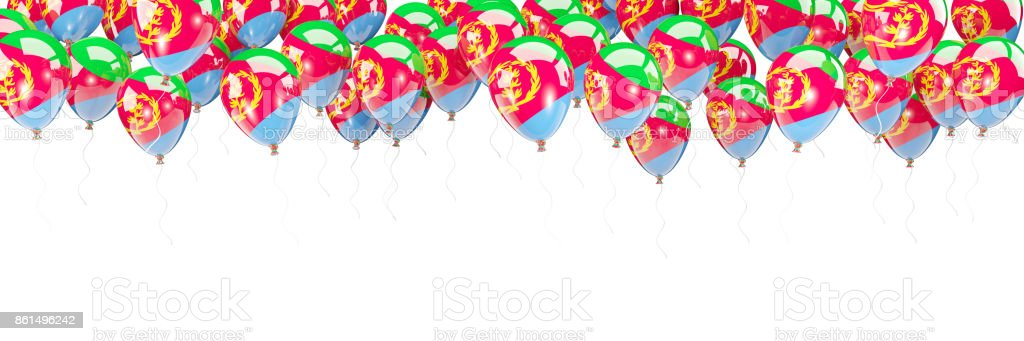 Balloons frame with flag of eritrea stock photo