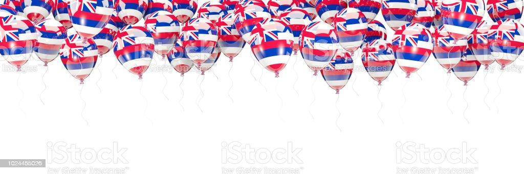Moldura de balões com bandeira do Havaí. Bandeiras de locais dos Estados Unidos - foto de acervo