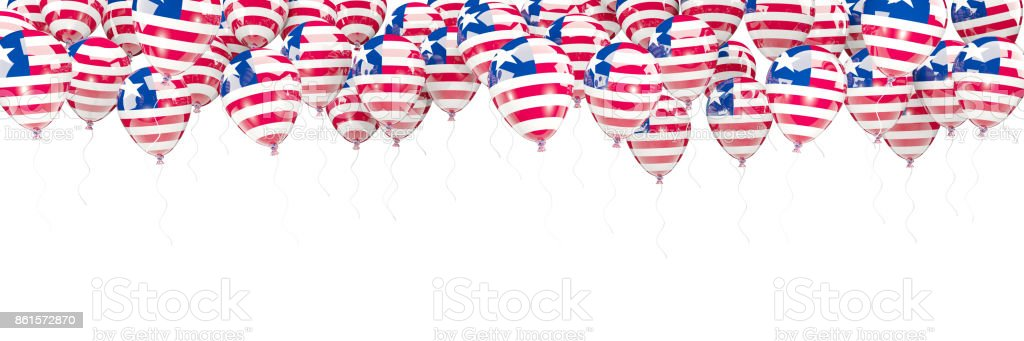 Balloons frame with flag of liberia stock photo