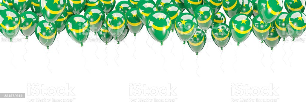 Balloons frame with flag of mauritania stock photo