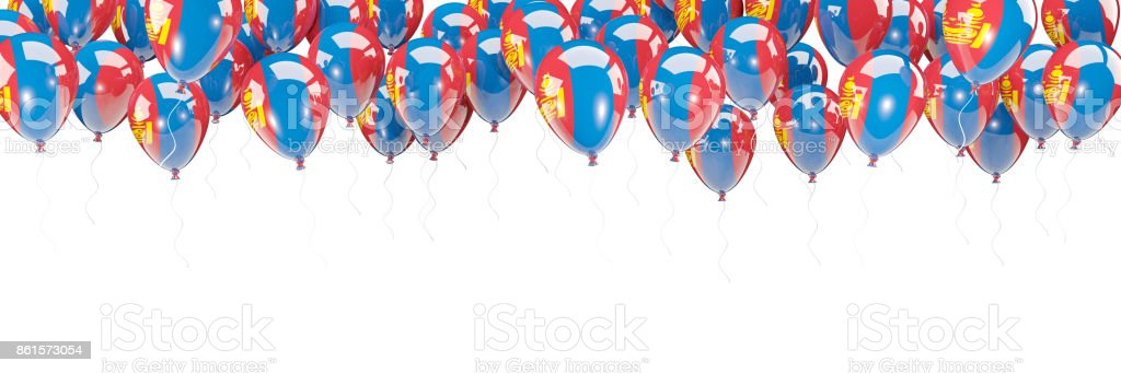 Balloons frame with flag of mongolia stock photo