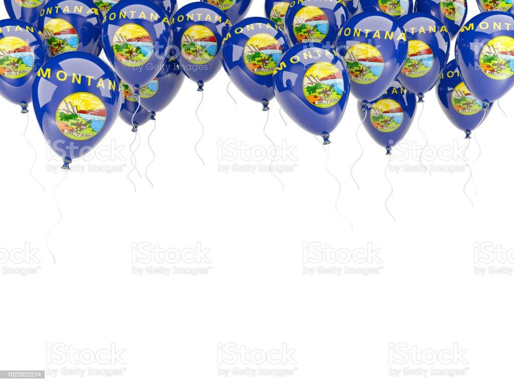 Moldura de balões com bandeira de montana. Bandeiras de locais dos Estados Unidos - foto de acervo