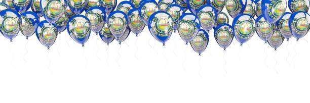 Moldura de balões com bandeira de new hampshire. Bandeiras de locais dos Estados Unidos - foto de acervo