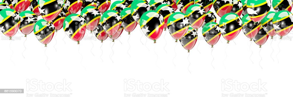 Balloons frame with flag of saint kitts and nevis stock photo