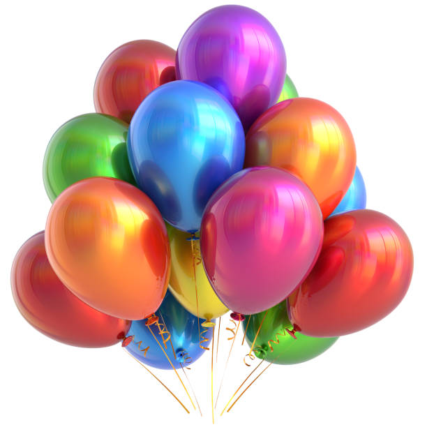 balloons happy birthday party decoration glossy multicolored - grand opening stock pictures, royalty-free photos & images