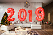 2019 concept with balloons