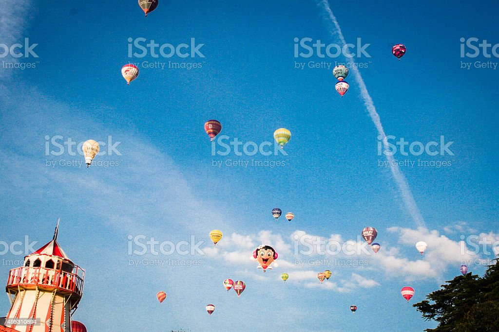 Balloons in Summer Sky At Bristol Balloon Fiesta stock photo