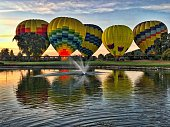 Balloons ready to rise above Napa Valley in the early morning.