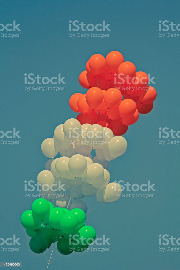 Balloons in the national Tri colors of India stock photo