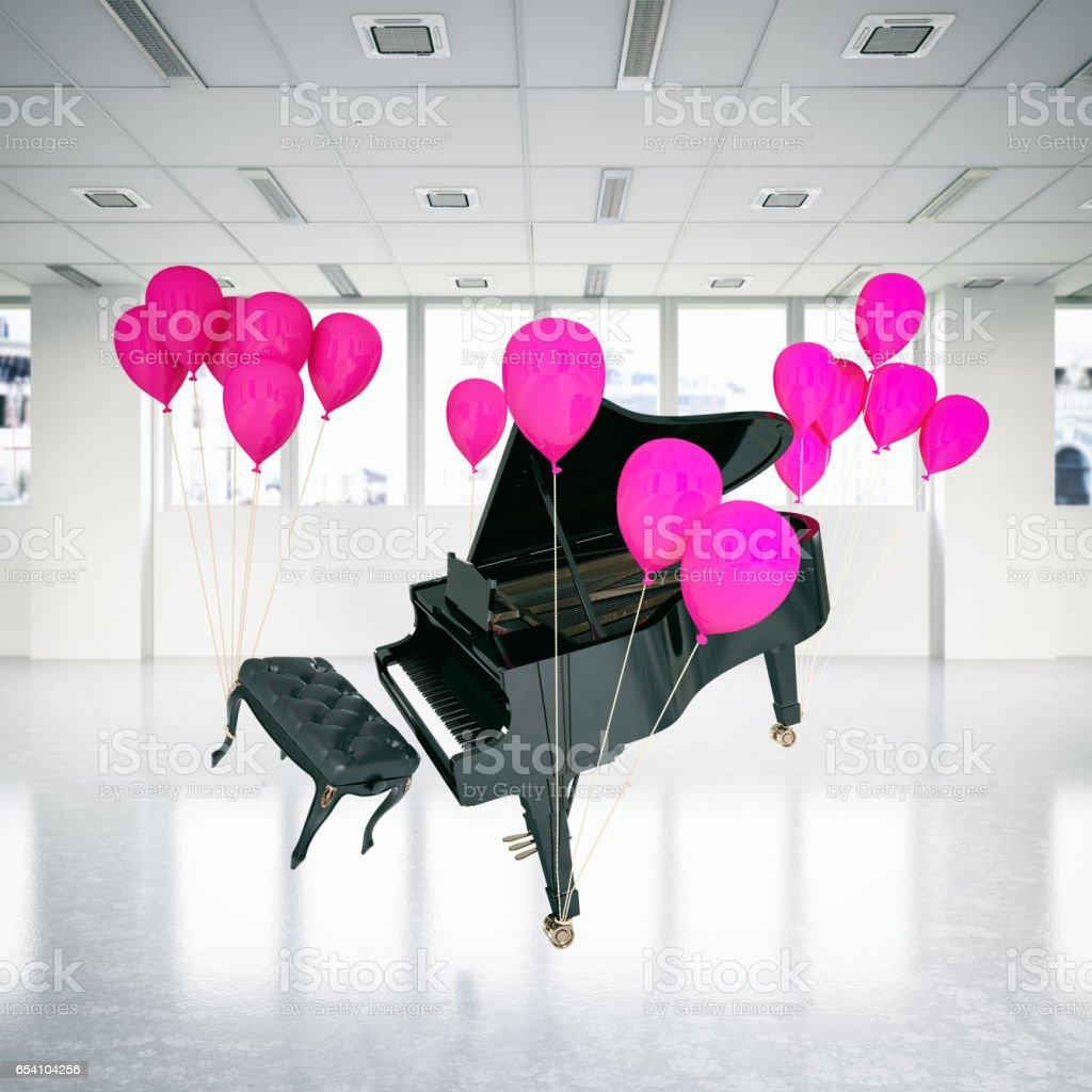 Balloons lift Piano stock photo
