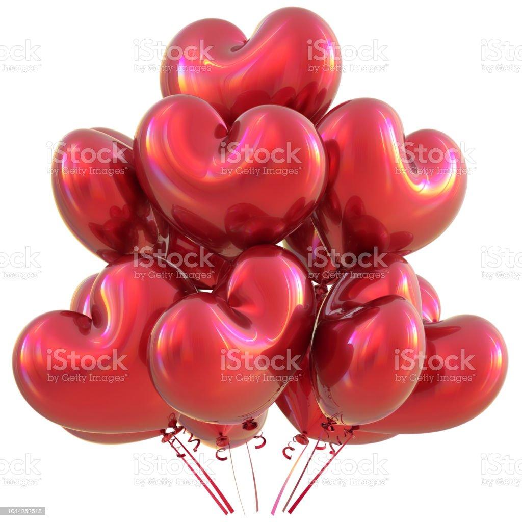 Amam de balões em forma de decoração de festa feliz aniversário vermelha coração - Foto de stock de Amor royalty-free