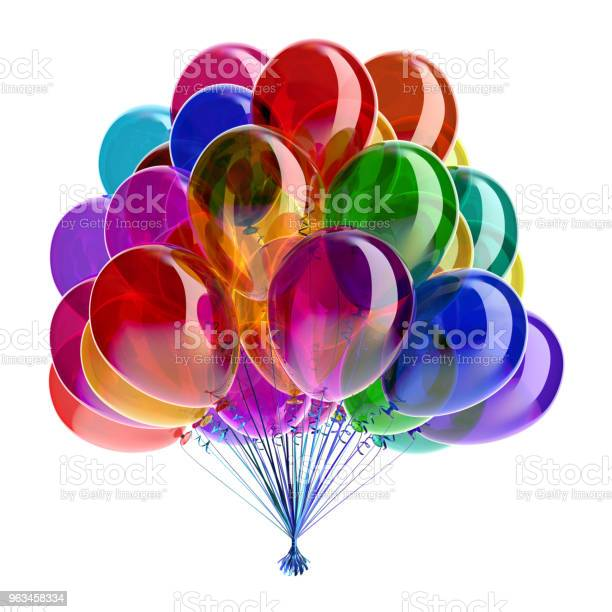 Globos Cumpleaños Multicolor Partido Brillante Decoración Festiva Foto de stock y más banco de imágenes de Aniversario