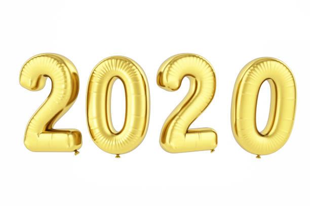 2020 balloons. new year concept - immagini su sfondo bianco foto e immagini stock
