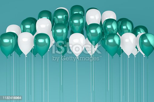 istock Balloons on pastel green, turquoise color background. 1132416964