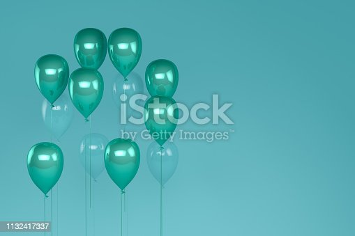 istock Balloons on pastel green, turquoise color background. 1132417337